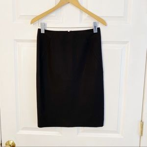Theory Black Stretch Wool Pencil Skirt